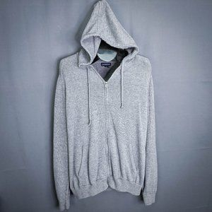 Lands End Mens Sweater XL Gray Cardigan Full Zip
